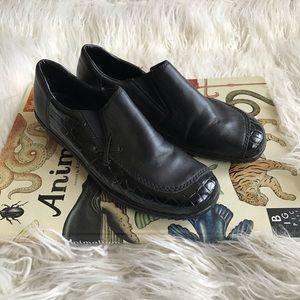 Rieker Black Patent Leather Croc Print Shoes